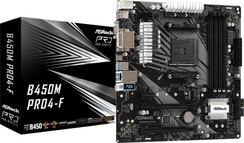 Материнская плата Asrock B450M PRO4-F Soc-AM4 AMD B450 4xDDR4 mATX AC`97 8ch(7.1) GbLAN RAID+VGA+DVI+HDMI фото 5