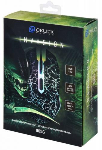 Мышь Oklick 905G INVASION черный/рисунок оптическая (3200dpi) USB (5but) фото 12