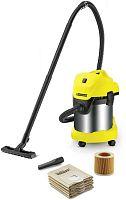 Строительный пылесос Karcher WD 3 Premium Jubilee 1000Вт (уборка: сухая/сбор воды) желтый