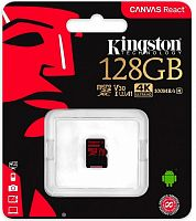 Флеш карта microSDXC 128Gb Class10 Kingston SDCR/128GBSP Canvas React w/o adapter