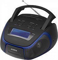 Аудиомагнитола Supra BB-23MUS черный/синий 3Вт/MP3/FM(dig)/USB/SD