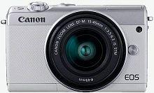 """Фотоаппарат Canon EOS M100 белый/серебристый 24.2Mpix 3"""" 1080p WiFi 15-45 IS STM LP-E12 (с объективом)"""