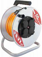 Удлинитель силовой LUX К4-Е-50 (50150) 3x1.5кв.мм 4розет. 50м ПВС 16A метал.катушка