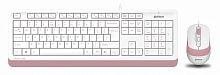 Клавиатура + мышь A4Tech Fstyler F1010 клав:белый/розовый мышь:белый/розовый USB Multimedia