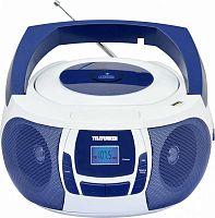 Аудиомагнитола Telefunken TF-CSRP3498B синий/белый 3Вт/CD/CDRW/MP3/FM(dig)/USB/BT