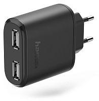 Сетевое зар./устр. Hama H-173608 2.4A+2.4A универсальное кабель USB Type C черный (00173608)