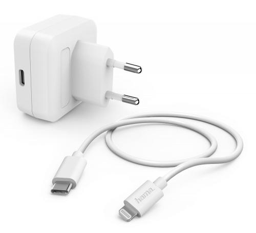 Сетевое зар./устр. Hama H-183316 3A PD для Apple кабель Apple Lightning/Type-C белый (00183316)