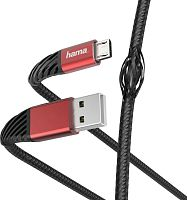 Кабель Hama 00187216 microUSB (m) угловой USB 2.0 (m) угловой 1.5м черный/красный